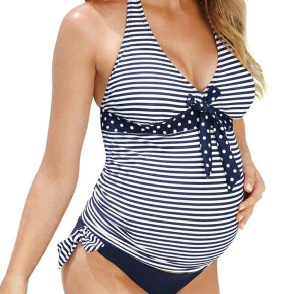 f6d1553dbfc34 Swim | New Polka Dot Stripe Maternity Tankini Set Large | Poshmark